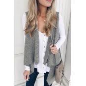 Lovely Casual Asymmetrical Grey Vests