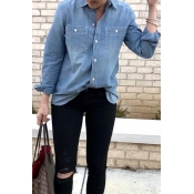Lovely Casual Long Sleeves Blue Denim Shirts