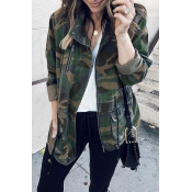 Lovely Casual Camouflage Printed Cotton Blends Coa