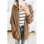 Lovely Casual Long Sleeves Pocket Khaki Sweater Ca