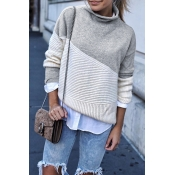 Lovely Patchwork Grey Sweater