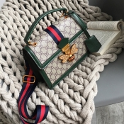 Lovely Elegant Patchwork Printed Green PU Messenge