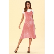 Lovely Casual Sleeveless Pink Pleuche Mid Calf  Dr