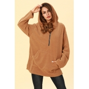 Lovely Casual Hooded Collar Light Tan Hoodies