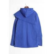Lovely Trendy Hooded Collar Asymmetrical Blue Hood