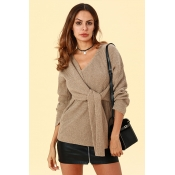 Lovely Chic Lace-up Khaki Sweaters