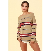 Lovely Trendy Dew Shoulder Khaki Acrylic Sweaters