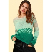 Lovely Casual Gradual Change Green Sweaters