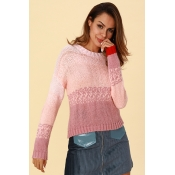 Lovely Casual Gradual Change Pink Sweaters