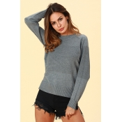 Lovely Work Long Sleeves Grey Acrylic Sweaters