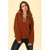 Lovely Chic Lace-up Coffee Hoodies