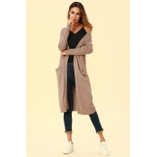 Lovely Chic Long Sleeves Light Tan Cardigan Sweate