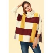 Lovely Chic Turtleneck Slit Yellow Acrylic Sweater