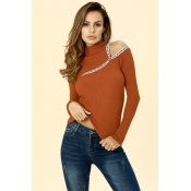 Lovely Casual Dew Shoulder Caramel Color  Sweaters