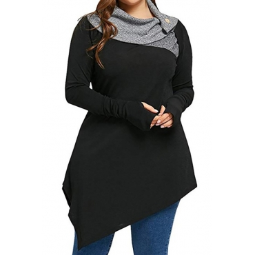 Lovely Casual Asymmetrical Design Black Polyester Hoodies
