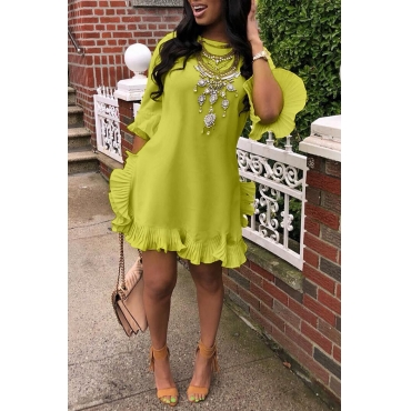 Lovely Sweet Ruffle Design Green Blending Mini Dress