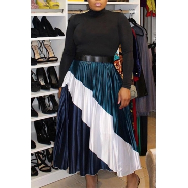 Lovely Casual Patchwork Dark Blue Polyester Pleated Skirt