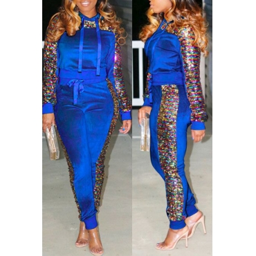 Lovely Casual Sequined Decorative hooded Blue Two-piece Pants Set