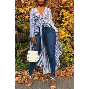 Lovely Casual Asymmetrical Design Blue Blending Striped Shirts