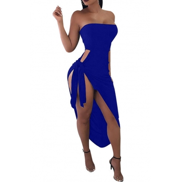 Lovely Sexy Side Fork of Irregular Royalblue Ankle Length Sheath Dress