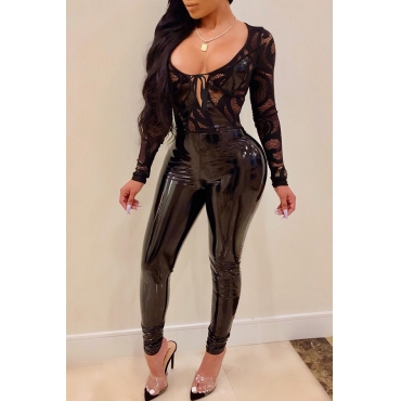 Lovely Sexy Lace Patchwork Black PU One-piece Jumpsuit