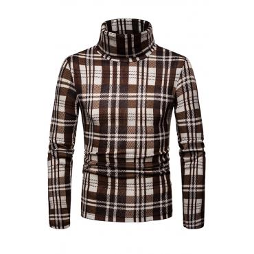 Lovely Fashionable Plaids Long Sleeves Khaki Sweaters
