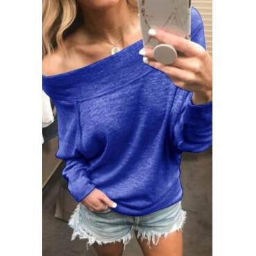 Lovely Casual Off-the-shoulder Blue Knitting Hoodies