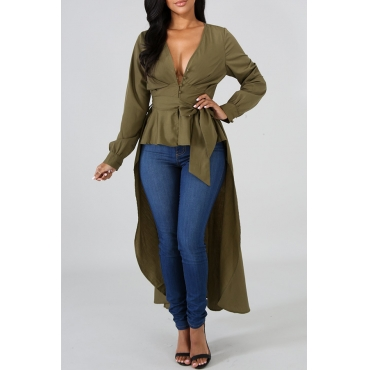 Lovely Casual Asymmetrical Hems Army Green Blending Shirts