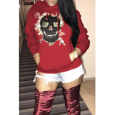 Lovely Casual Printed Wine Red Cotton Hoodies