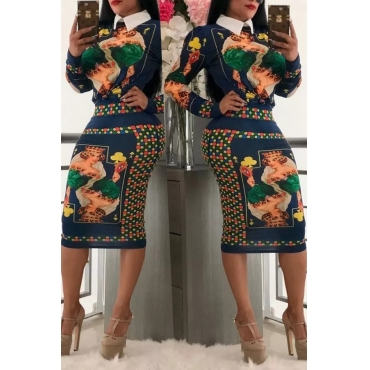 Lovely Casual Printed Royalblue Knitting Two-piece Skirt Set