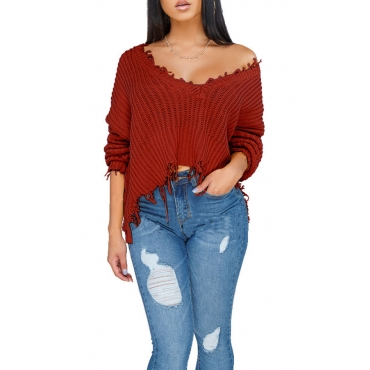 Lovely Casual Tear Wine Red Blending Short Sweaters