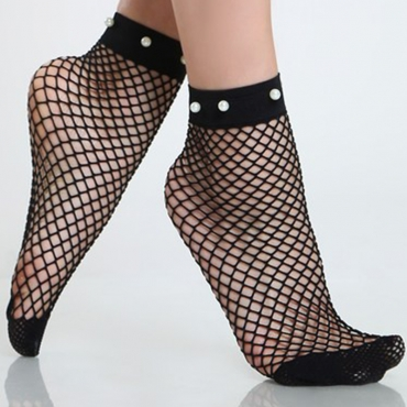 Lovely Sexy Pearl Decorative Black Mesh Socks