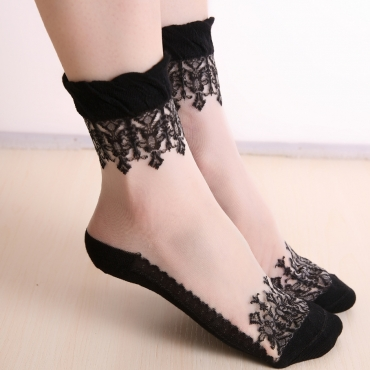 Lovely Sexy Lace Edge Black Ankle Socks