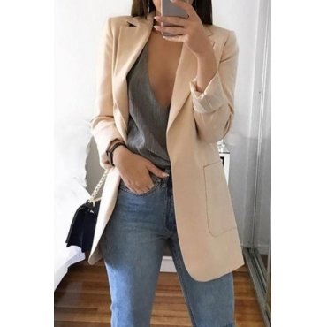 Lovely Casual Long Sleeves Khaki Suit Jacket