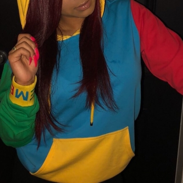 Lovely Casual Multicolor Patchwork Twilled Satin Hoodies