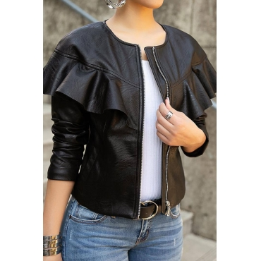 Lovely Casual Long Sleeves Flouncy Black PU Coat