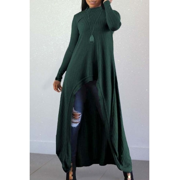 Lovely Casual Long Sleeves Irregular Green Blending Long Sweaters