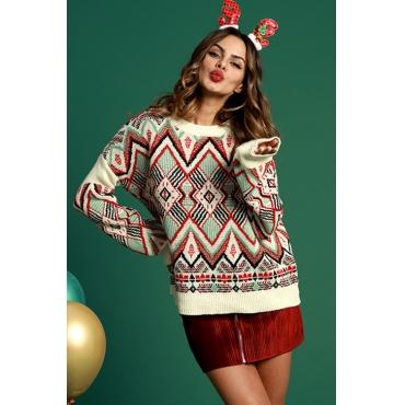 Lovely Vintage Geometric Pattern Ke-Bai Mi Blending Sweaters