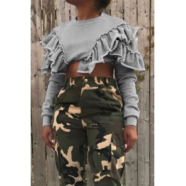 Lovely Sweet Ruffle Design Grey Cotton Short Hoodies