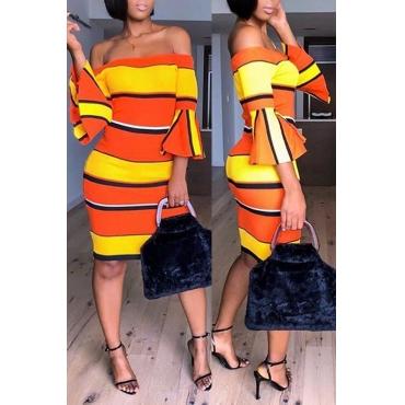 Lovely Sweet Flare Sleeves Striped Orange Knee Length Dress