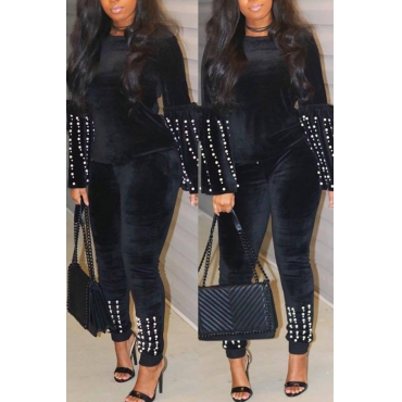 Lovely Sweet Pearl Decorative Black Two-piece Pants Set