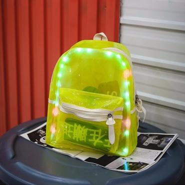 Lovely Personality LED Light Green Backpacks