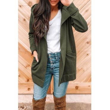 Lovely Casual Long Sleeves Army Green Cotton Blends Hoodies