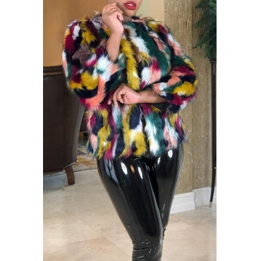 Lovely Sweet Multicolor Faux Fur Coat