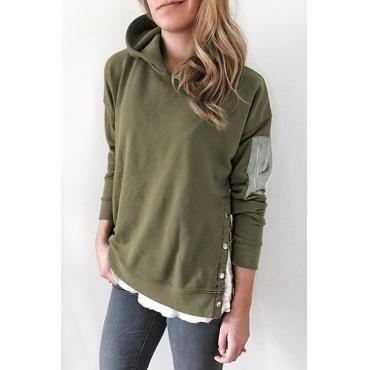 Hoodies Elegantes Do Verde Do Exército Dos Botões Da Moda