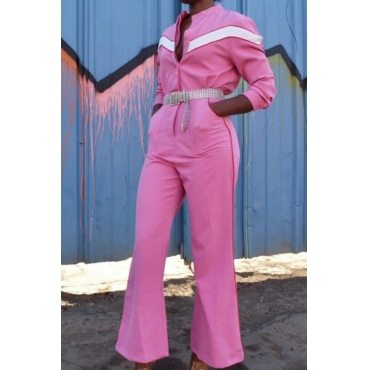 Lovely Casual Patchwork Pink Twilled Satin One-piece Jumpsuit