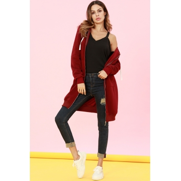 Lovely Casual Long Sleeves Purplish Red Long Coat