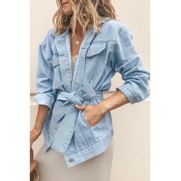 Lovely Stylish Lace-up Baby Blue Cotton Coat
