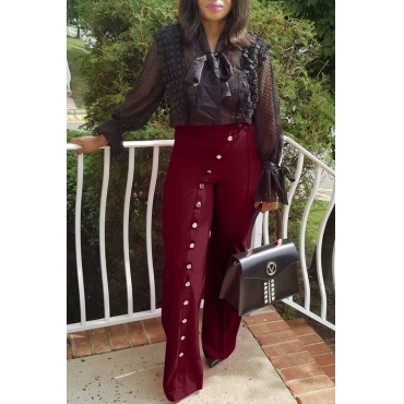 Lovely Trendy Buttons Decorative  Wine Red Twilled Satin Pants