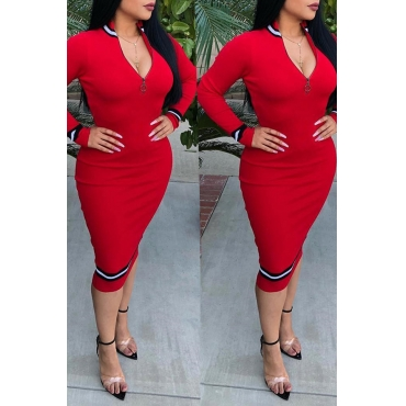 Lovely Casual Patchwork Slim Red Twilled Satin Mid Calf Dress